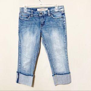 Mossimo Denim Jean Capri Pants Cuffed Size 5